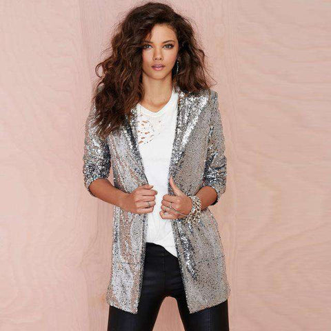 Silver Sequinned Turn-down Collar Long Sleeve Jacket - Wear.Style