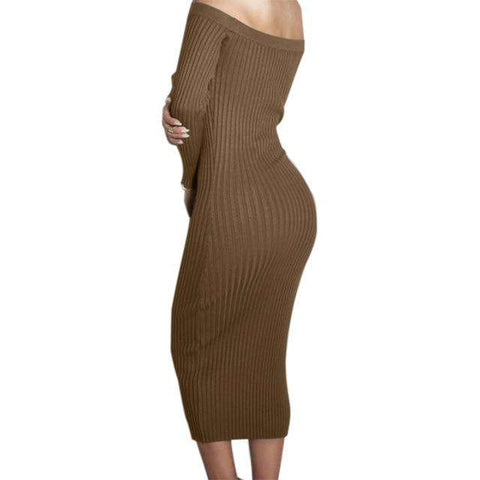 Long Sleeve Off Shoulder Slash Neck Slim Knitted Sweater Knee-Length Dress