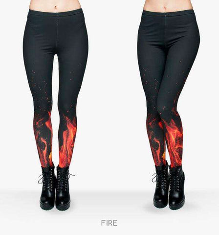 Fire Flame Printed Stretchy Leggings - Wear.Style