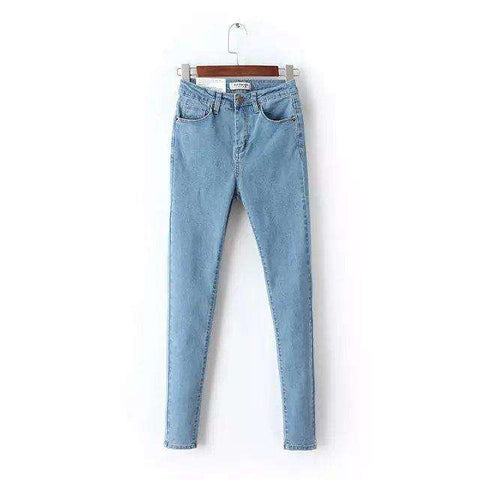 High Waist Elastic Washed Skinny Jeans