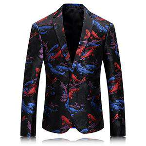 Single Breasted Printed Flower Party Blazer
