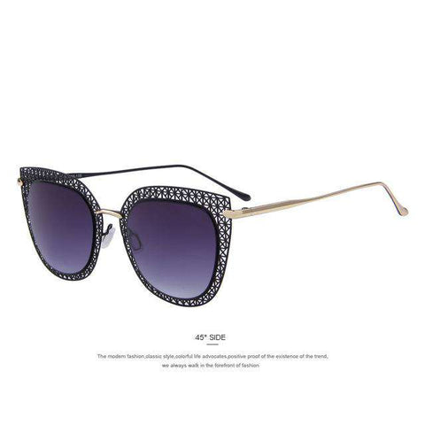Cat Eye Classic Carving Alloy Frame Light-weight Shades UV400 Sunglasses