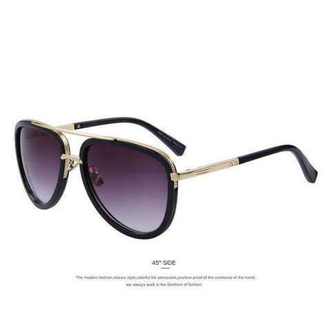 Designer Double-Bridge Metal Shades UV400 Sunglasses