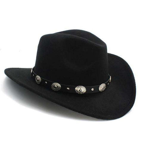 100% Wool Wide Brim Punk Belt Cowgirl Hat