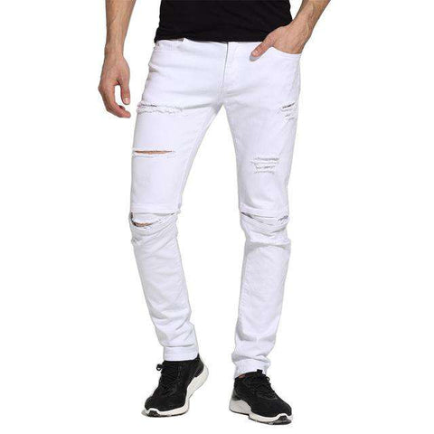 White Slim Fit Casual Skinny Ripped Jeans