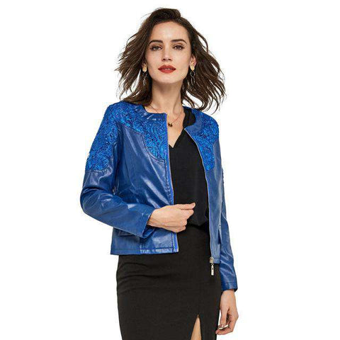 Lace Slim Water Washed Faux Leather Jacket - WS-Jackets