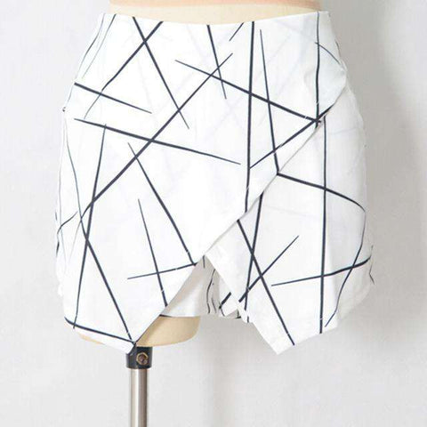 Sharp Lines Layered Zipper Irregular Culottes Shorts Skirts - Wear.Style