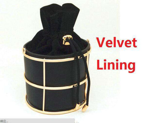 Bucket Black PU Metal String Evening Clutches - Wear.Style