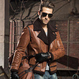 Faux Fur Shearling Aviator Bomber Genuine Leather Jacket