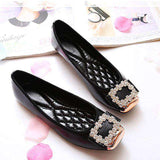 Elegant Square Rhinestone Soft Leather Slip Ons