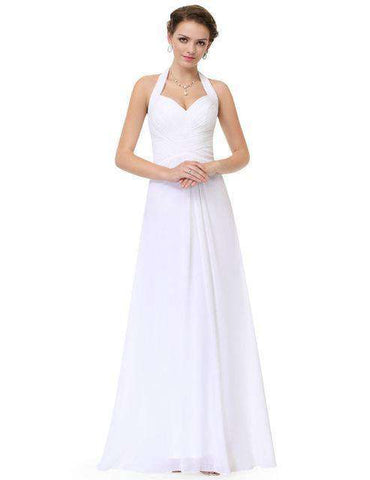 A Line Empire Halter Sleeveless Long Prom Dress Gown