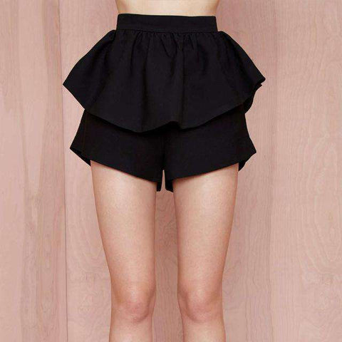 Solid Black High Waist Loose Casual Pleated Slim Zippers Skirt - Wear.Style