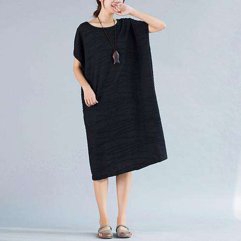 Big Size Vintage Cotton Casual Solid Print Basic Long O-Neck Dress