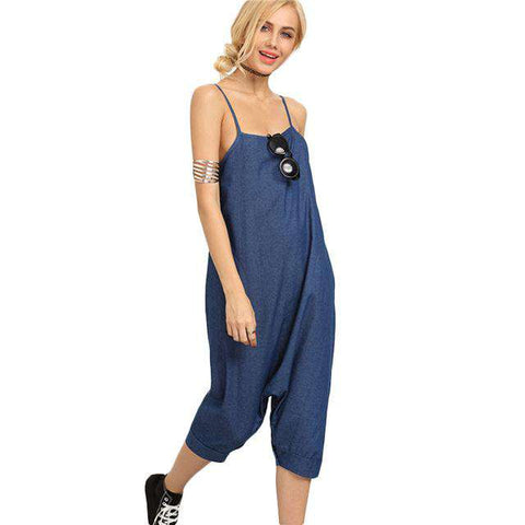 Sexy Blue Buttoned Drop Crotch Casual Spaghetti Stripe Jumpsuits