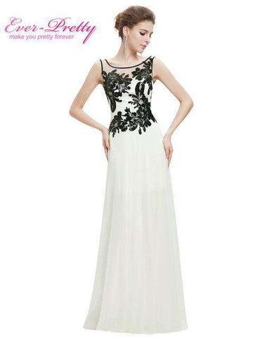 Sexy Chiffon O-neck Long White and Black High Quality Organza Lace Evening Dresses - Wear.Style
