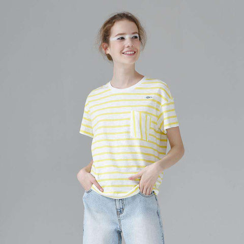 Cotton Embroidery Striped Casual Straight Short Sleeve O-Neck Tees