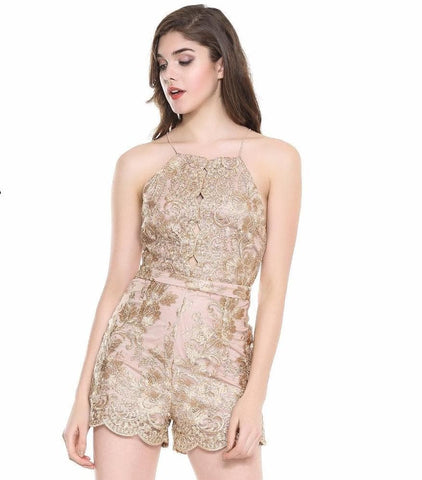 Cut Out Lace Halter Playsuit Jumpsuit