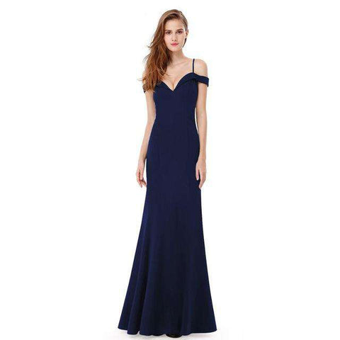 V-neck Off shoulder Sleeveless Long Party Gown