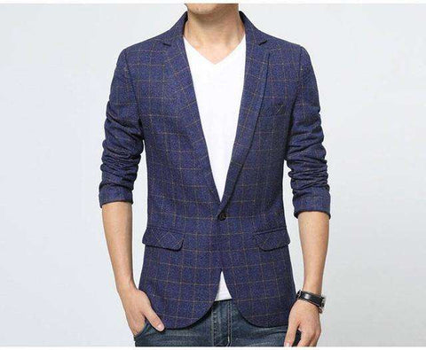 Plaid Stripe Slim Fit Blazer - Wear.Style