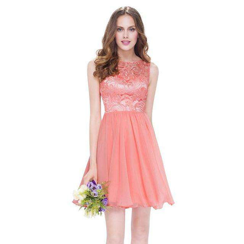 Short Lilac Pretty Lace Elegant Round Neck Sleeveless Party Dress - Wear.Style