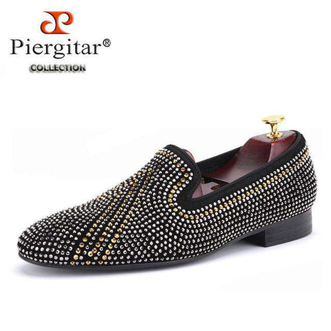 Handmade Rhinestone mixed Men Suede Loafers - Wear.Style