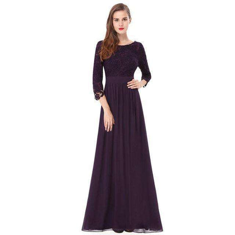 Elegant 3/4 Sleeve Lace Sexy Long Evening Gown