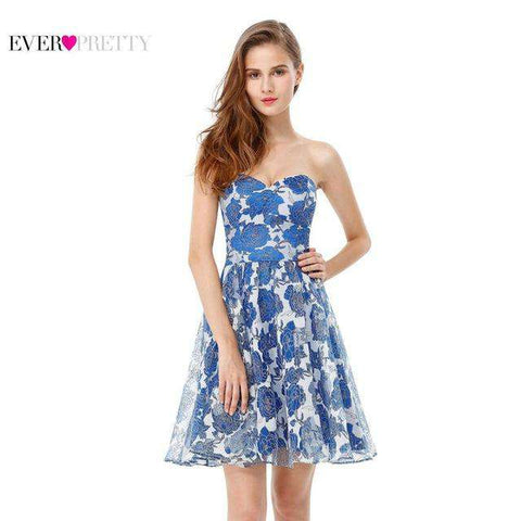 Light Blue Strapless Flower Chiffon Party Dress - Wear.Style