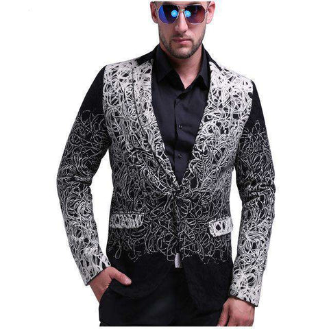 Grey Slim Fit One Button Floral Blazer