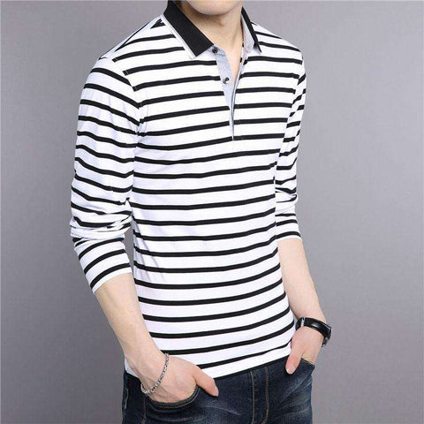 Pure Cotton Turn-down Collar Casual Striped Long Sleeve Tshirt