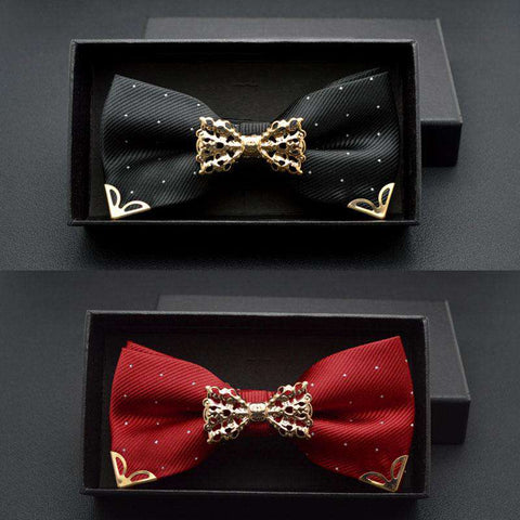Hollow Metal Decoration Neck Wear Butterfly Knot Dot Bow Tie