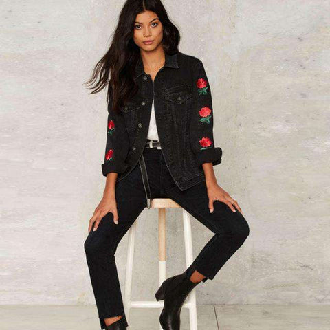 Casual Floral Embroidery Denim Jacket - Wear.Style