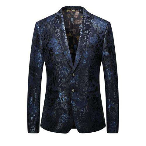Single Breasted Floral Print Slim Fit Blazer