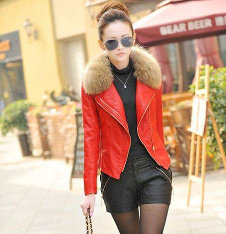 Fur Collar Leather Jacket - WS-Jackets