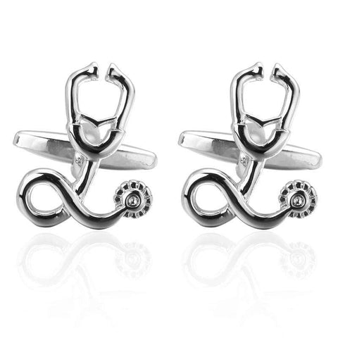 Luxury shirt silver Stethoscope Cufflinks
