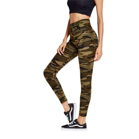 Camouflage Fitness Slim Sexy High Waist Ankle Leggings