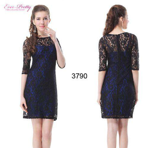 Round Neckline 3/4 Sleeve Lace Dress - Wear.Style