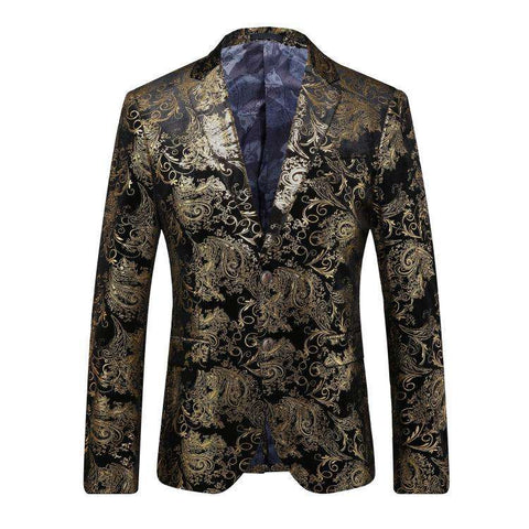 Single Breasted Gold Floral Printed Slim Fit Blazer