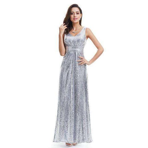 Silver Sparkle Luxury Sleeveless Double V-Neck Sequin Sparkle Gown