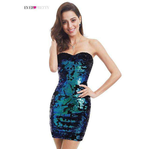 Pretty Luxurious Velvet Sequin Sparkle Style Strapless Mini Short Party Dress - Wear.Style