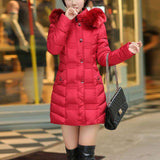 Long Hooded Fur Collar Jackets - WS-Jackets