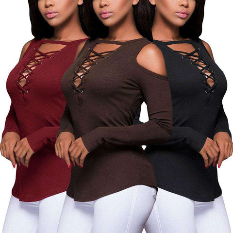 Long sleeve Sexy V Neck Hollow Out Tops