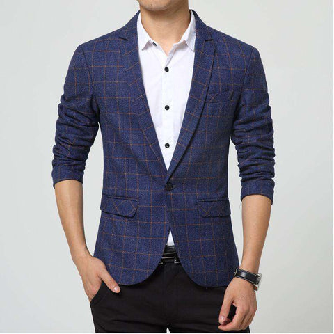 Single Breasted Plaid Slim Fit Blazer