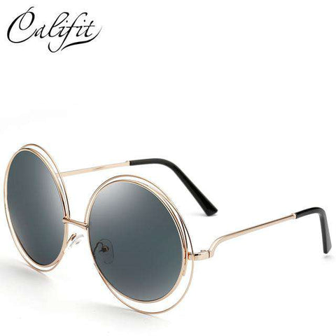 Oversized Mirror Round Retro Sun Glasses - Wear.Style