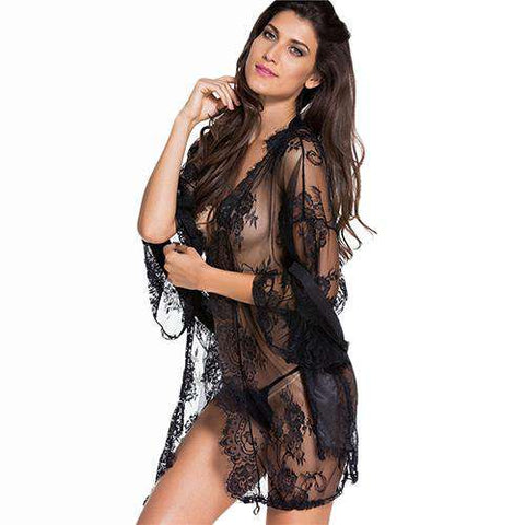 3/4 Sleeve Black Lace Sexy Semi Sheer Night Gown With Self Tie Thin Robes