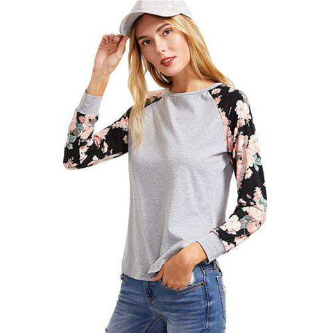 Heather Grey Raglan Long Sleeve Contrast Floral Casual O Neck Cotton T-shirt
