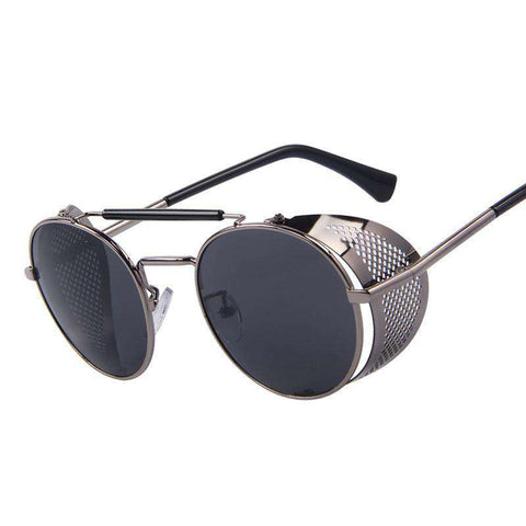 Retro Design Round Steampunk UV400 Sunglasses
