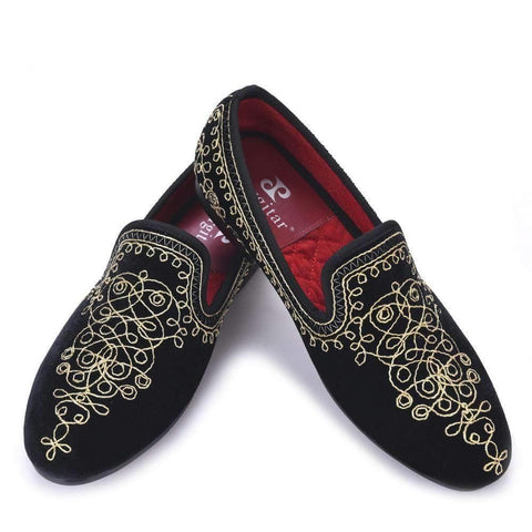 Embroidered Motif Paisley Men Velvet Loafer - Wear.Style