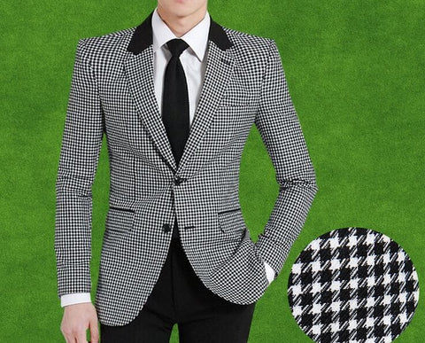 Woollen Slim Fit Bird Plaid England style Single breast Blazer