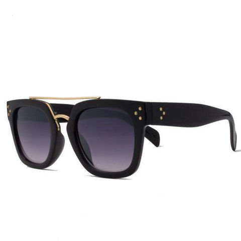 Luxury Designer Vintage Rivets Square Mirror Lens  Sun glasses - Wear.Style