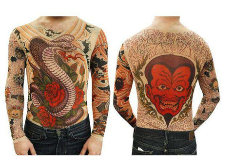 Unisex Cobra and Roses Full Body Tattoo Long Sleeve Tees